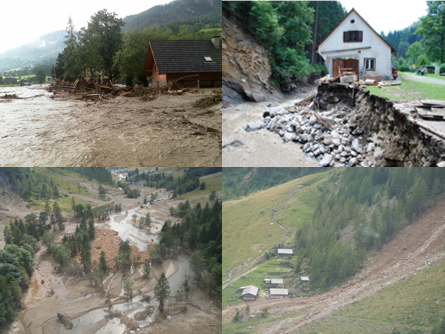 Examples of natural hazards: Damage due to floods and mudslides
